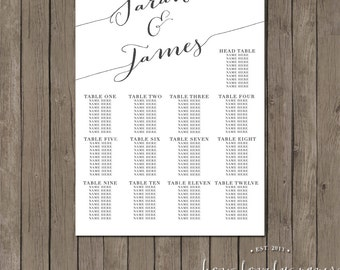 Printable Seating Chart - the Chloe collection