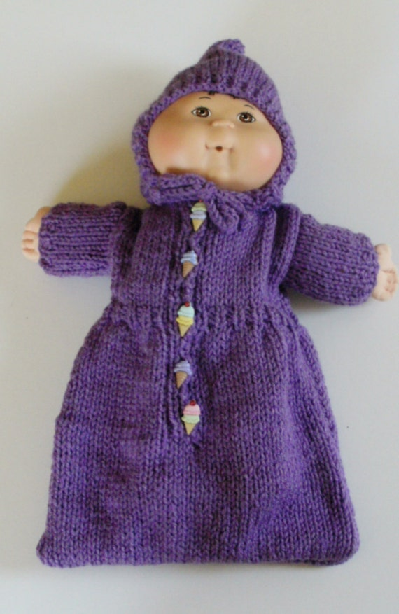 Knitting Pattern Doll Sleeping Bag : NEW PATTERN Purple Bunting/Sleeping Bag: Doll Clothes for