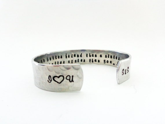 Sister/ Best Friend Gift- There is no better friend than a sister... Custom Stamped Bracelet. super cute.