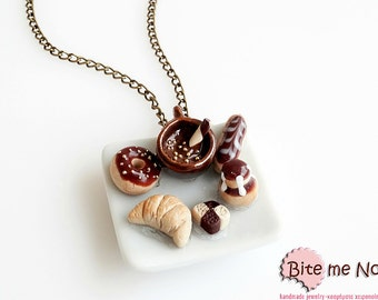 Food Jewelry French Pastries and Hot Chocolate Necklace - Miniature Food Jewelry, Croissant - Donuts - Eclair Necklace, Kawaii Jewelry, Cute