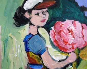 Girl w/ Prize Rose original figurative aceo painting