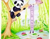 Cherry Blossom Panda Watching Koi