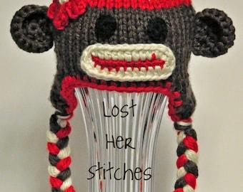 Sock Monkey Knit Earflap Hat