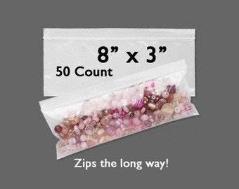 "CLEARANCE - Plastic Bags - Zipper Bag - 8"" x 3"" - Zip Close Bags - Zip Bag - Storage Bag - Resealable Bag - 50 COUNT - Side Zip Bag"