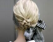 Dark grey scarf, geometric scarf, silk scarf similar to shown, oblong scarf, black scarf, hair scarf, for her, scarflette, summer accessory
