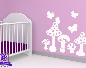 Mushrooms and Butterflies Wall Decal
