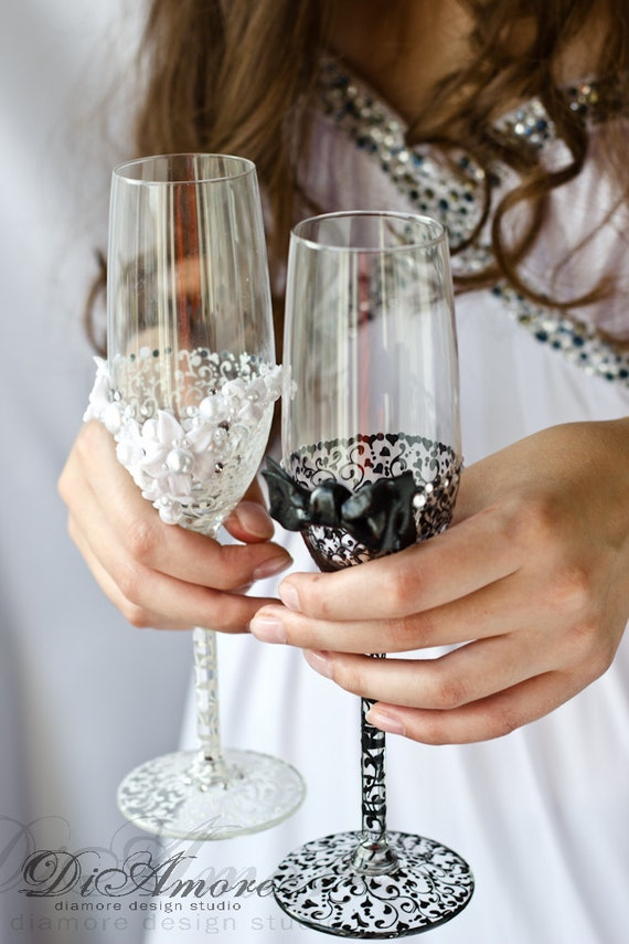 Bride And Groom Wedding Champagne Glasses Personalized
