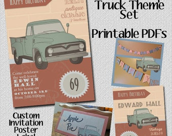 Party Set Classic Pickup Truck -Custom Birthday - Retirement -Party Decor -Vintage - Invitation - Poster - Food Labels - Banner - PlaceCards