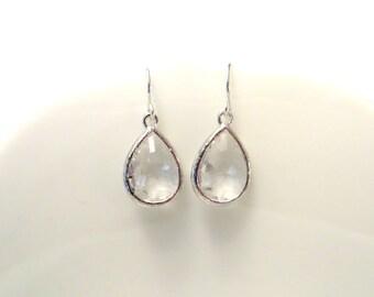Crystal Silver Drop Earrings Clear Earrings Sterling Silver Earrings Silver Bridesmaid Earrings Wedding Jewelry Earrings Simple Earrings