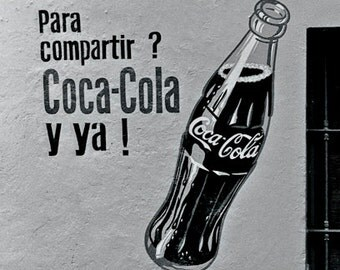 Coca Cola Sign on a wall in Cuernavaca Mexico- a black and white photograph
