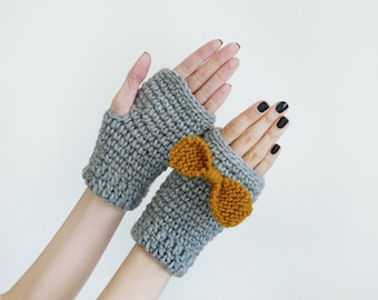 Fingerless Wool Mittens For Women In Gray With Mustard Yellow Bow, Fall Accessories, Hand Warmers