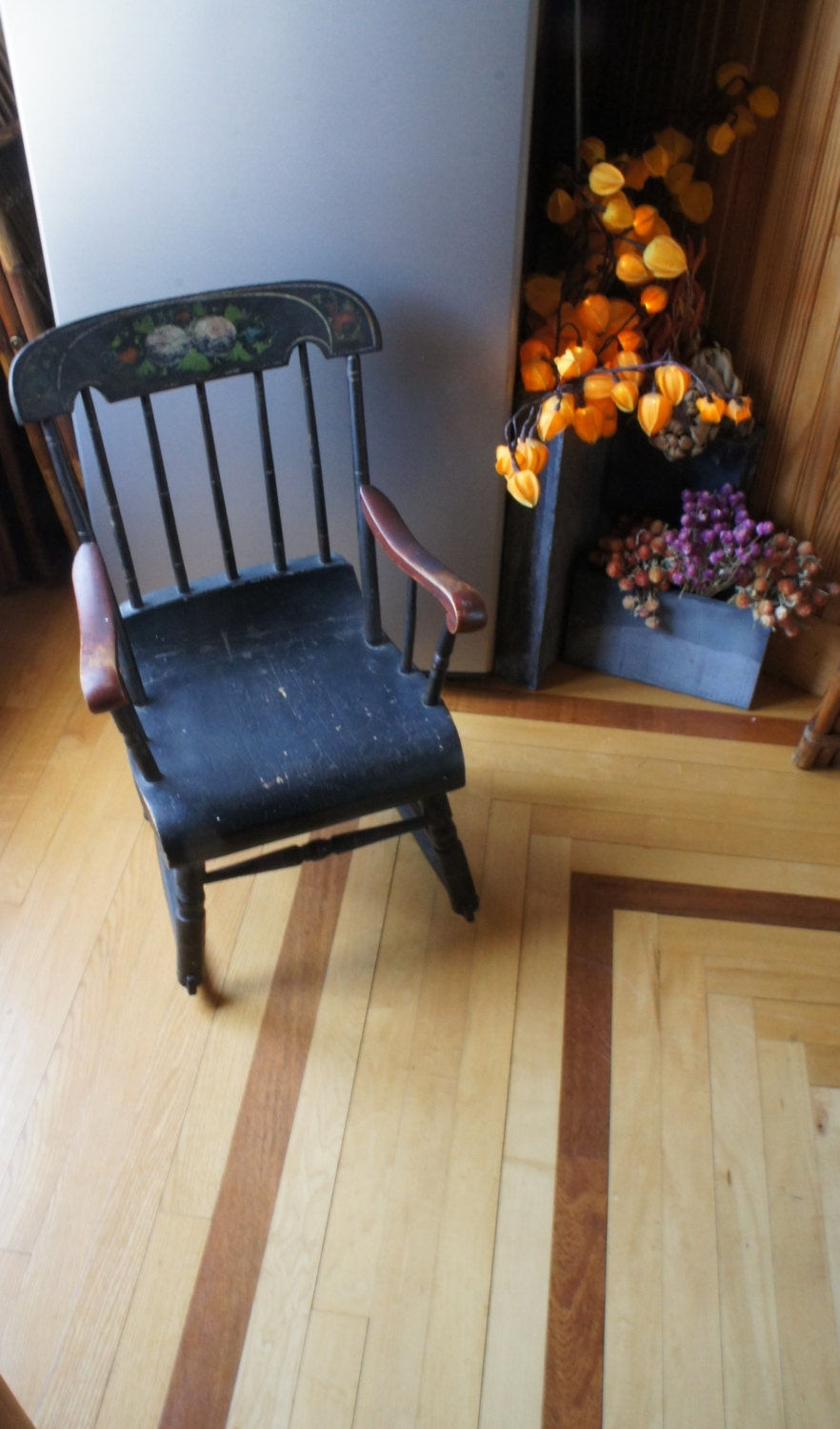 Rocking chair. Child size/ Antique /Floral by MOUNTAINFORGERY