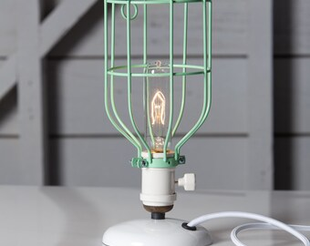 Desk Light Bulbs: Industrial Desk Lamp - Mint Green Wire Cage Table Light - Vintage Style,Lighting