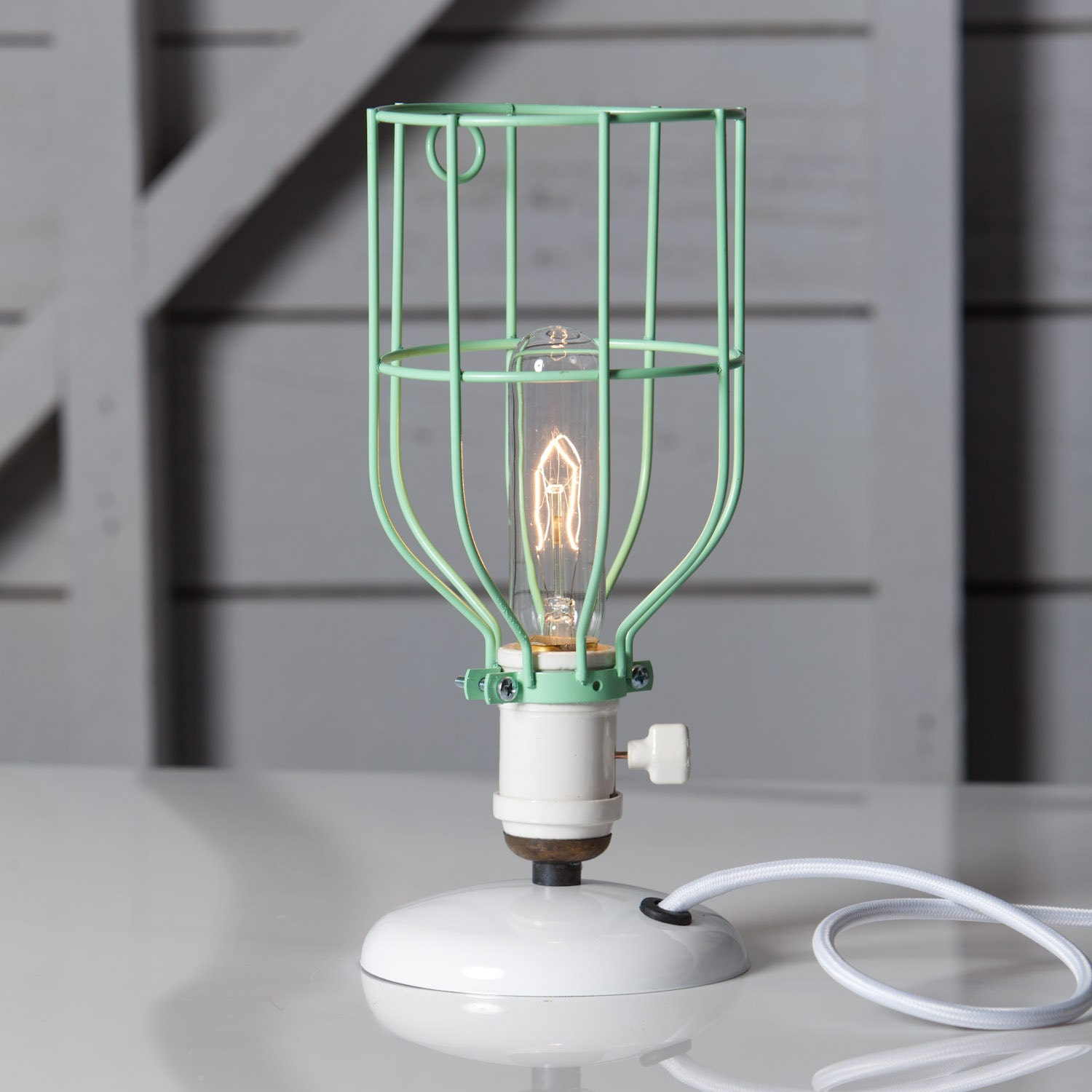 Industrial Desk Lamp Mint Green Wire Cage Table Light