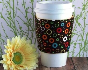 Fabric Coffee Cozy / Circles and Loops Coffee Cozy / Polka Dot Coffee Cozy / Circle Coffee Cozy / Coffee Cozy / Tea Cozy