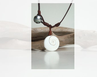 Tahitian black pearl eye of shiva shell australian leather