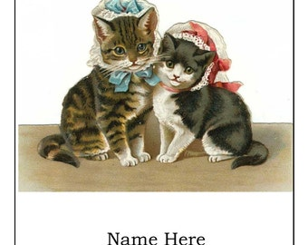 Kittens in Bonnets Personalized Bookplates - Set of 8