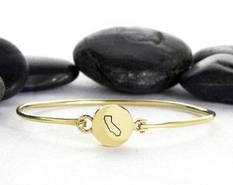California Jewelry, California, California Charm, State Jewelry, California State, California Bangle, State Charm, State Bracelet,  b248b