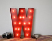 Vintage Inspired Marquee Light- Letter W, home decor, lighted letter, marquee letter, marquee light, letter, vintage, initial, wall art