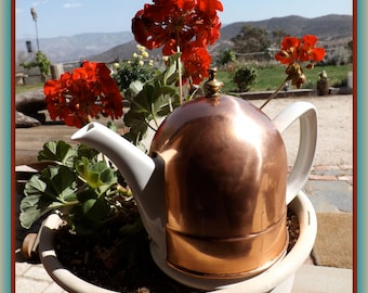 Copper Insulated French Tea Coffee Pot Baker Hart Stuart White Ceramic with Sleeve Free Shipping US