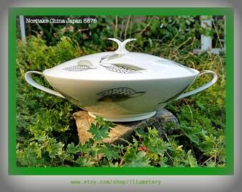 Noritake China 5578 Japan Large Serving Bowl Dish With Lid Sage Green Black Gold Leaves Leaf Pattern 1950's Dinnerware