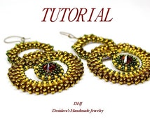 Beadwork tutorial big earrings with superduo beads and 10mm bezel cabochon.