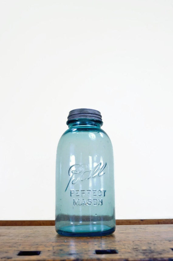 Vintage Ball Jar, LARGE, Half Gallon, Blue Ball Jar, Mason Jar, Glass Jar, 1920s