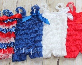 4th of July Vintage Lace Baby Petti Romper Red White Blue Lace Petti Romper Baby Toddler Birthday Outfit Military Babies Rompers