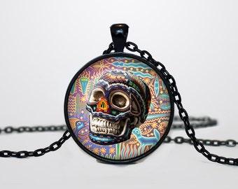 Mexican Halloween Skull necklace Skull pendant  Halloween jewelry Trick or Treat Halloween Pendant Halloween  multicolor rainbow