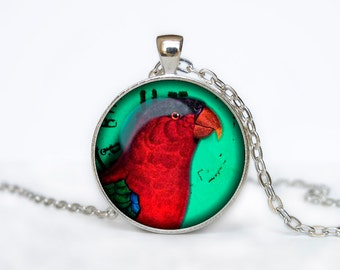 Bird necklace Vintage Bird pendant Bird jewelry turquoise pink aqua green colorful bird