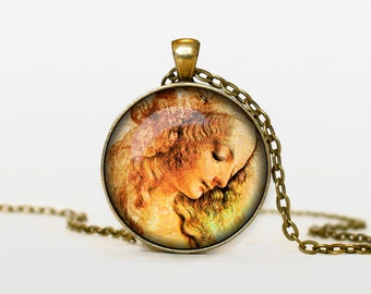 Leonardo da Vinci drawing necklace Leonardo da Vinci drawing pendant Leonardo da Vinci drawing jewelry