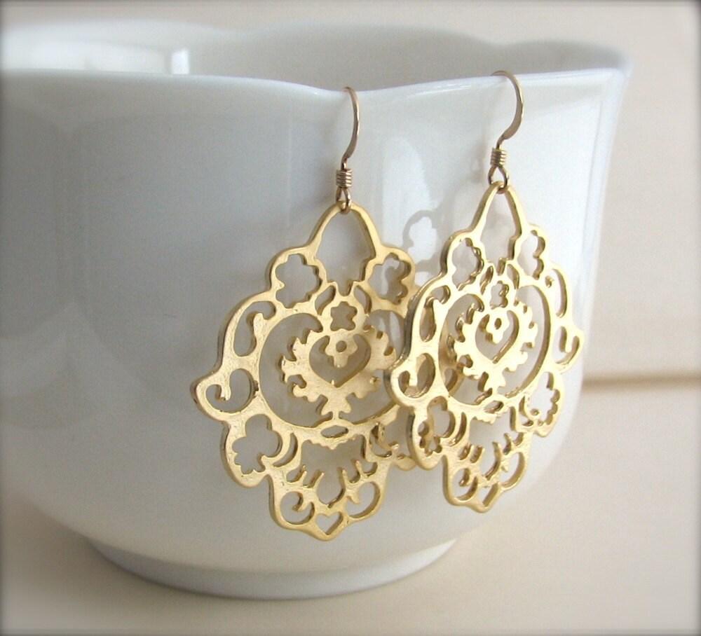 Gold Bohemian Earrings large gold earrings east indian