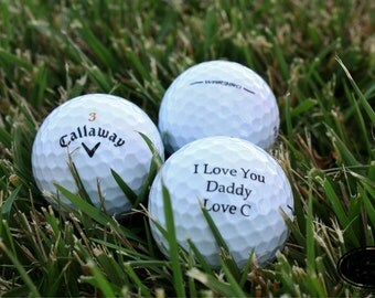 THREE Custom Golf Balls - Personalized with Any Text - Color Printed Golf Balls - Christmas Gift, Wedding Gift, Bachelor Party Gift
