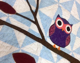 Owl on a Limb Baby Quilt  or Wall Hanging Pattern