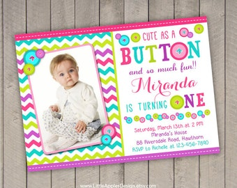button invitation / cute as a button birthday / cute as a button birthday / cute as a button invitation / cute as button invite /