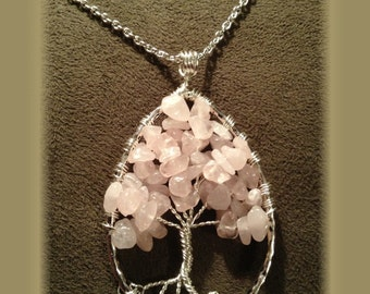 Tears on a Rose Tree of Life Pendant - Necklace - Rose Quartz - Tree of Life Necklace - Rose Quartz Tree of Life - Silver Wire Wrapped