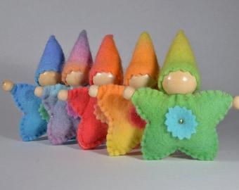 Star Pocket Doll - Hand dyed Wool Felt - Australian Made Waldorf Inspired