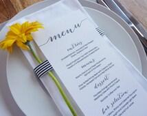 Wedding Menu - Printable - DIY Custom Wedding Decoration