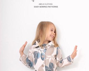 Reversible autumn COAT pattern - girls coat patterns - sizes 2T to 7Years