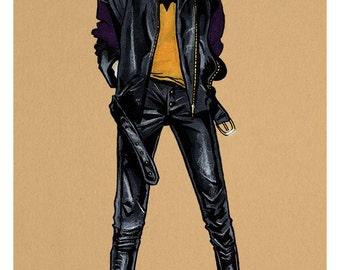 Batgirl A4 fashion illustration print