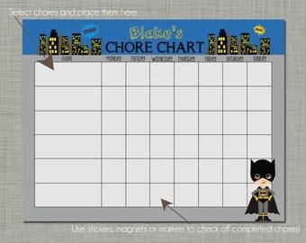 Personalized Kids Chore Reward Chart {Printable} Sized 8.5 x 11 - Bat Kid Design
