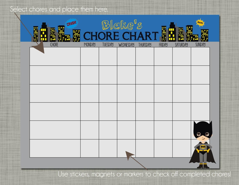 Personalized Kids Chore Reward Chart Printable Sized 85 x – Blank Sticker Chart