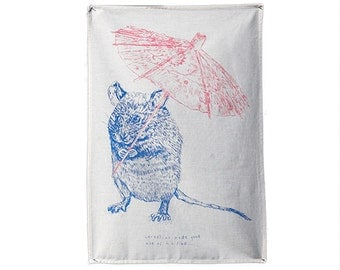 Cornelius Screenprinted tea towel // quirky animal teatowel