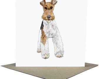 Fergus the Fox Terrier // Square Greeting Card, Dog Illustration