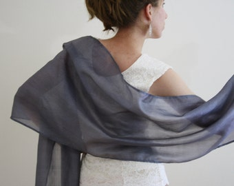 Gray scarf gray bridal wrap dark silver bridal shawl Ahimsa peace silk scarf wedding wrap silver evening wrap sheer evening shawl NOMAD