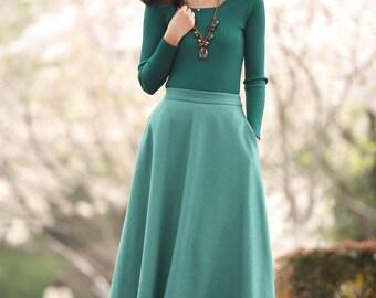 Teal Wool Skirt Plus Size Warm Winter Skirts (175)