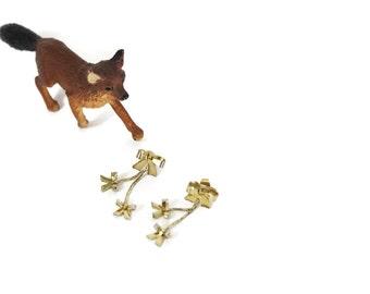 SALE Vintage Bow Drop Earrings / Dangle Earrings with Little Gold Bows