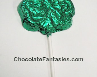Foil Wrapped Chocolate Shamrock Lolliopp, St. Patrick's Day, Clover
