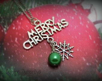 Merry Christmas Necklace in Antique Silver - Antique Silver Snowflake and Green Glass Pearl Ornament - 6140159