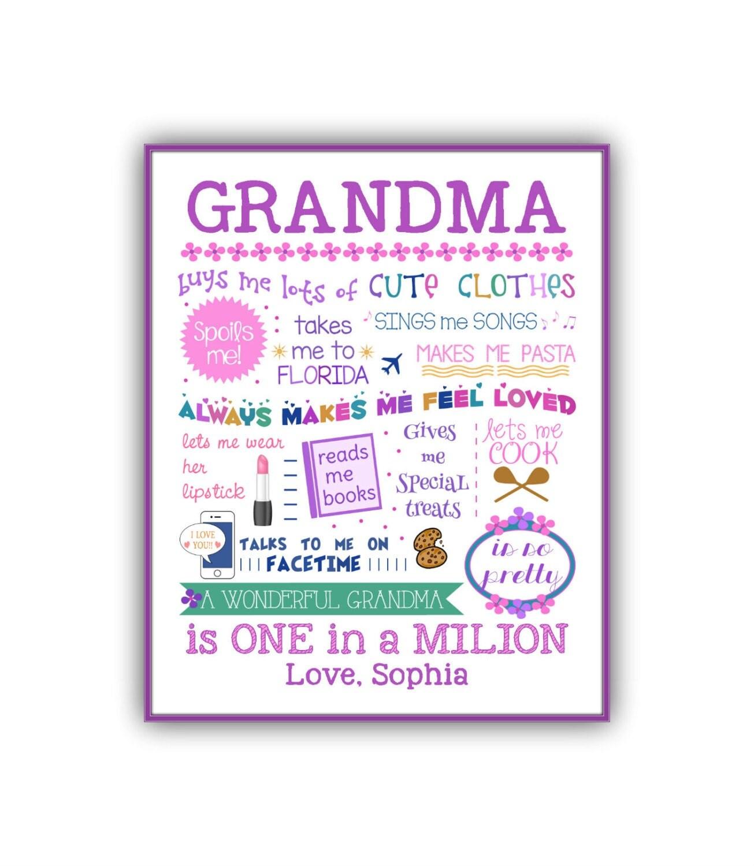 Grandmother Birthday Gift Personalized Grandma Gift Custom